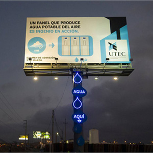 Billboard that Generates Water from Air Humidity